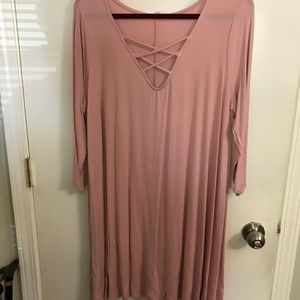 Pink tunic with criss cross front